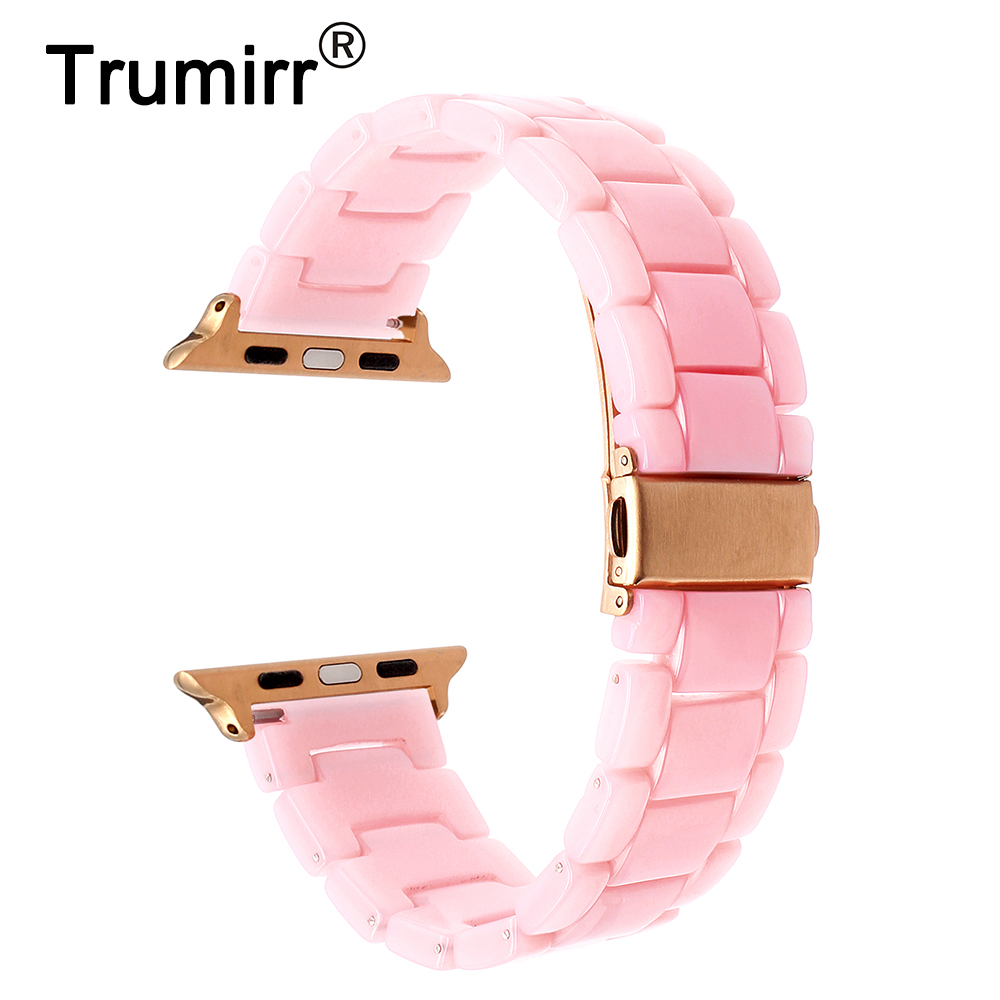 Fashion Resin Watchband for iWatch Apple Watch 38mm 42mm Series 3 2 1 Wrist Band Women Strap Stainless Steel Buckle Bracelet eastar milanese loop stainless steel watchband for apple watch series 3 2 1 double buckle 42 mm 38 mm strap for iwatch band