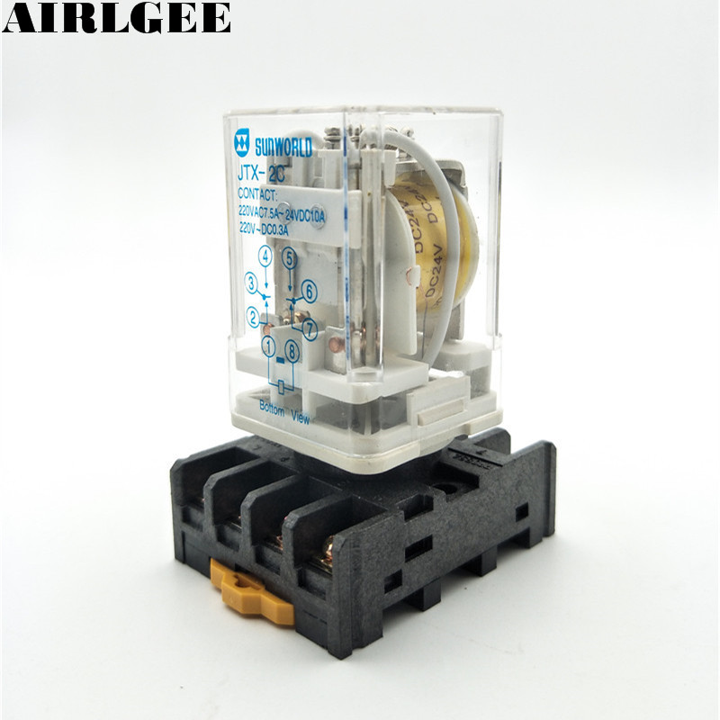 JTX-2C 8 Round Pin with Socket DPDT DIN Rail 10A Electromagnetic Relay DC 24V Coils Free Shipping цена и фото