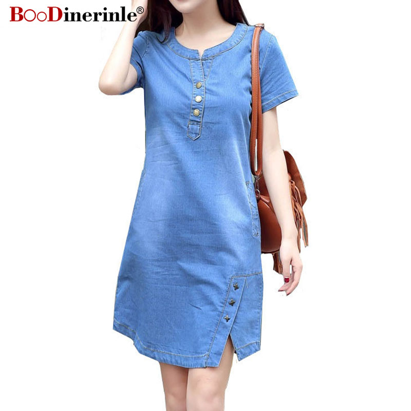 BOodinerinle Korean Plus Size Denim Dress For Women Summer Dress 2019 Casual With Button Pocket Sexy Mini Jeans Dress 3xl