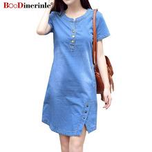 Koreański Plus rozmiar sukienka jeansowa dla kobiet letnia sukienka 2020 Casual z kieszeń na guzik Sexy Mini dżinsy sukienka 3xl 4XL BOodinerinle tanie tanio CN (pochodzenie) Lato COTTON A-LINE 9319-1 V-neck Krótki REGULAR WOMEN Kieszenie Na co dzień Naturalne Stałe Powyżej kolana Mini