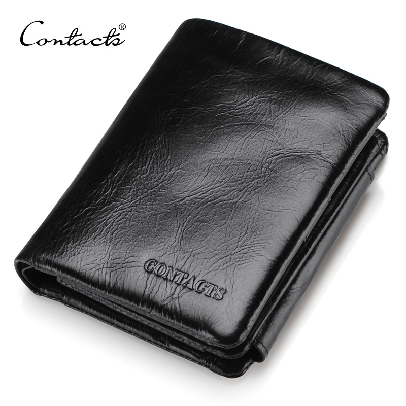 CONTACT'S Genuine Cowhide Leather Men Wallet Trifold Wallets Fashion Design Brand Purse ID Card Holder With Zipper Coin Pocket aim hot sale genuine leather wallet men oil wax trifold purse man famous brand design short wallets vintage coin card holder men