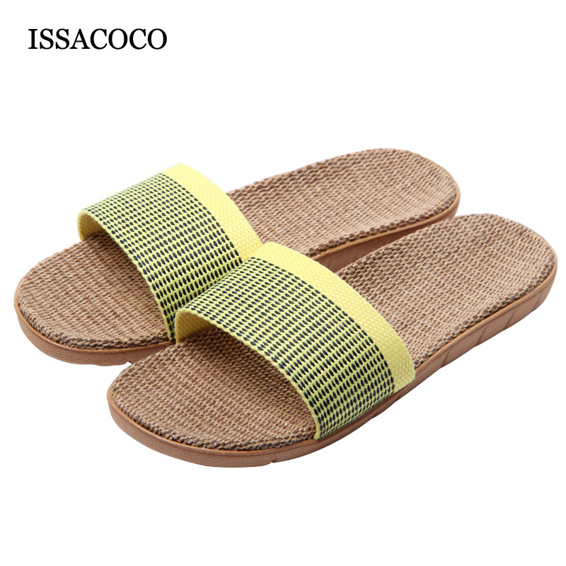 ISSACOCO Women Autumn Non-slip Breathable Linen Slippers Flax Slippers for Women Indoor Bathroom Slippers High Quality EU 35-40 coolsa women s summer striped linen slippers women hemp slides women s flax slippers breathable non slip fashion indoor slippers