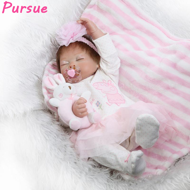 Pursue 20/50 cm Realistic Body Silicone Reborn Baby Dolls Full Vinyl Silicone Bathe Reborn Baby Girl Doll for Girls Birthday pursue 22 57 cm bathe boy doll reborn full silicone vinyl body reborn babies dolls toys for children boy girl christmas gift