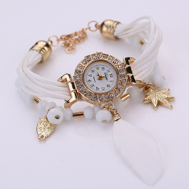 Feather Weave Wrap Around Bracelet Watch Crystal Synthetic Fashion Chain Watch 3
