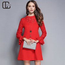 Autumn Winter Women's Lace Patchwork Dresses Red Black Ladies A-Line Long Sleeves Elegant Dress Woman Dinner Party Dress
