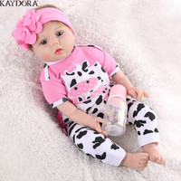 KAYDORA 55cm Reborn Baby Doll Soft Silicone Cloth Pink Cow Body Lifelike Newborn Girl Dolls Kids Playmate Birthday Gift Fashion