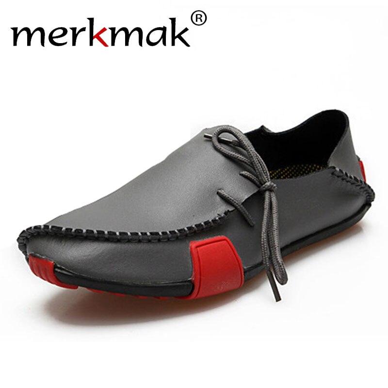 Merkmak Hombres Zapatos Casual Slip On de Cuero Genuino Hombres Mocasines Mocasi