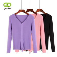 GOPLUS Spring Winter Lace up Knitting Sweaters Women Sexy V Neck Slim Long Sleeve Elasticity Sweater Solid Pullovers Female Top все цены