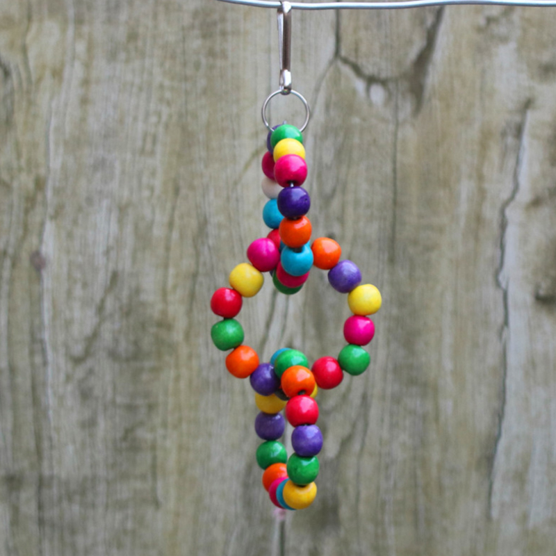 1Pcs Bird Toys Multicolor Wood color Wooden Beads Pets Toy Colorful Circular Swinging Ring Bird Exercise Swing Tools Parrot Toys in Bird Toys from Home Garden