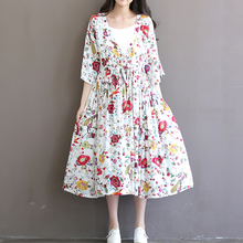 Large Hem Floral Print Half Sleeve Cotton Mori Girl Dress 2017 Summer Casual Loose Plus Size Boho Beach Party Women Long Dress