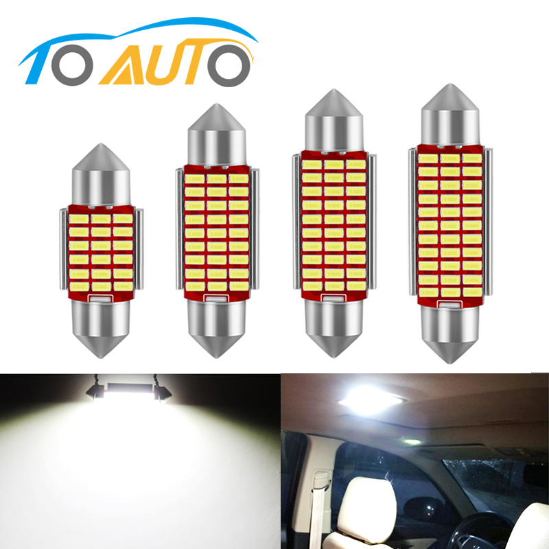 2 x 42mm Festoon Amber Canbus LED Number Plate Interior 8 SMD Bulbs 264