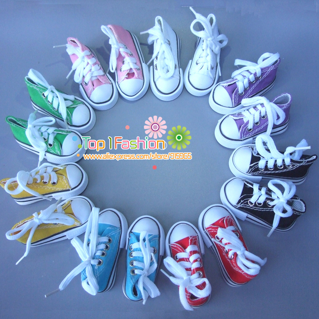 Wholesales Assorted Colors 7.5cm Canvas Shoes For BJD Doll Mini Toy Shoes Bjd Shoes for Russian Doll Accessories