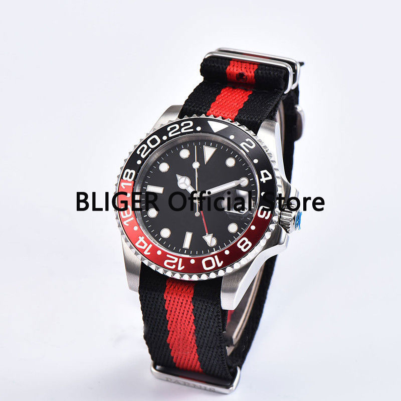 Sapphire Crystal 40mm Black Sterile Dial Red Black Rotating Bezel GMT Function Luminous Automatic Movement Mens Watch P7Sapphire Crystal 40mm Black Sterile Dial Red Black Rotating Bezel GMT Function Luminous Automatic Movement Mens Watch P7