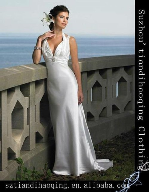 2b396b59c9 Column/Straight Halter V-Neck Beading Court Train Silk Like Satin Beach  Bridal Gowns