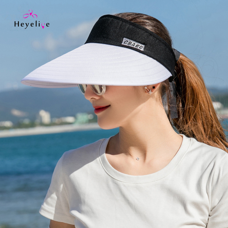 Fashion Sport Visor Retro Women Summer Hat Style Big Brim Adjustable Sun Cap New Brand High Quality Sport Hat Lady Summer Visors