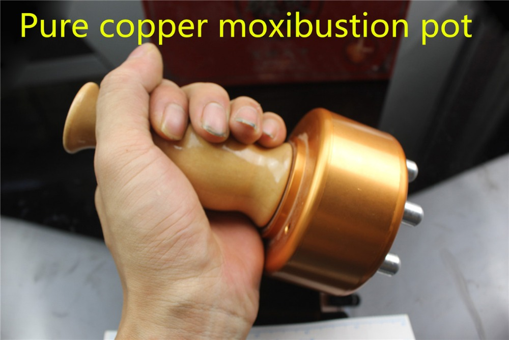 thicken Pure copper moxibustion pot metal body Moxa instrument   Moxibustion scrapping pot Massage Warming Meridian Moxibustion portable thicken pure stainless steel body moxibustion device moxa box new type