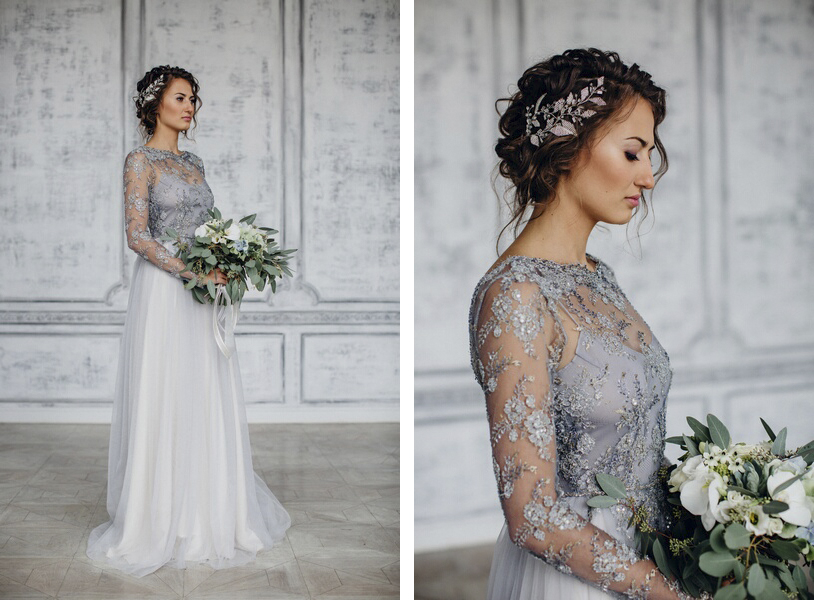 Light grey lace wedding dresses