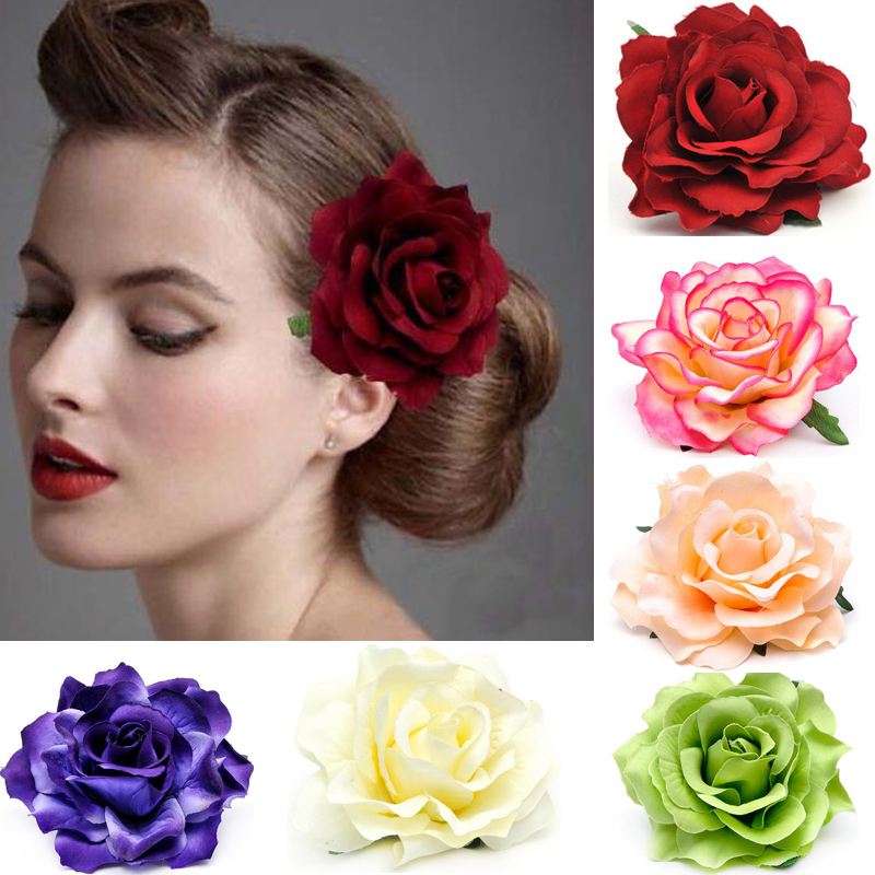 3 5 Black Flower Hair Clip With Flower Center: 10cm Large Fabric Blooming Rose Flower Woman Hair