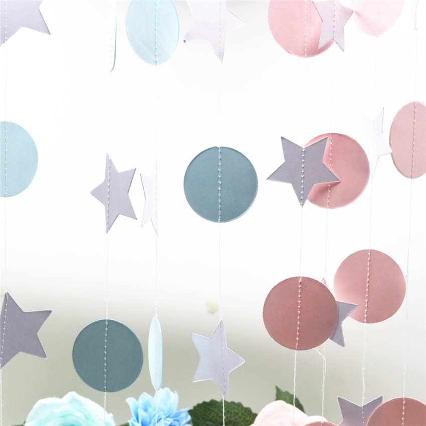 2m Paper Garland Banner Pink Black White Gold Glitter Star Flag