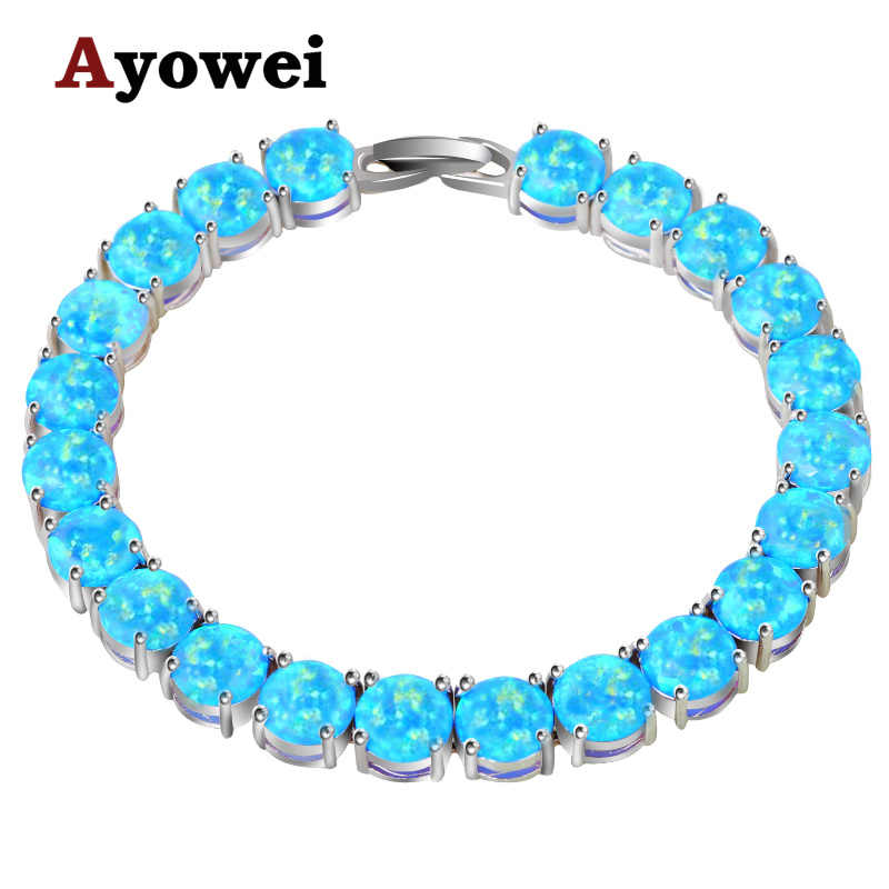 Ayowei alibaba-express blue Fire Opal 925 Silver Stamped Charm Bracelets Women party pulseras OBS073A