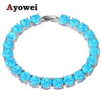 Ayowei alibaba-express blu Opale di Fuoco 925 Silver Timbrato I Braccialetti di Fascino Delle Donne del partito pulseras OBS073A