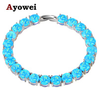 Ayowei Alibaba Express Blue Created Fire Opal 925 Silver Stamped Charm Bracelets Women Party Pulseras OBS073A