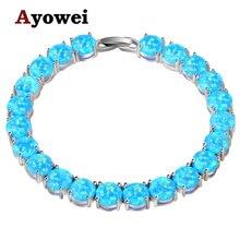 Ayowei alibaba express Estampado azul del Ópalo de Fuego de Plata 925 Pulseras Del Encanto Mujeres del partido pulseras OBS073A