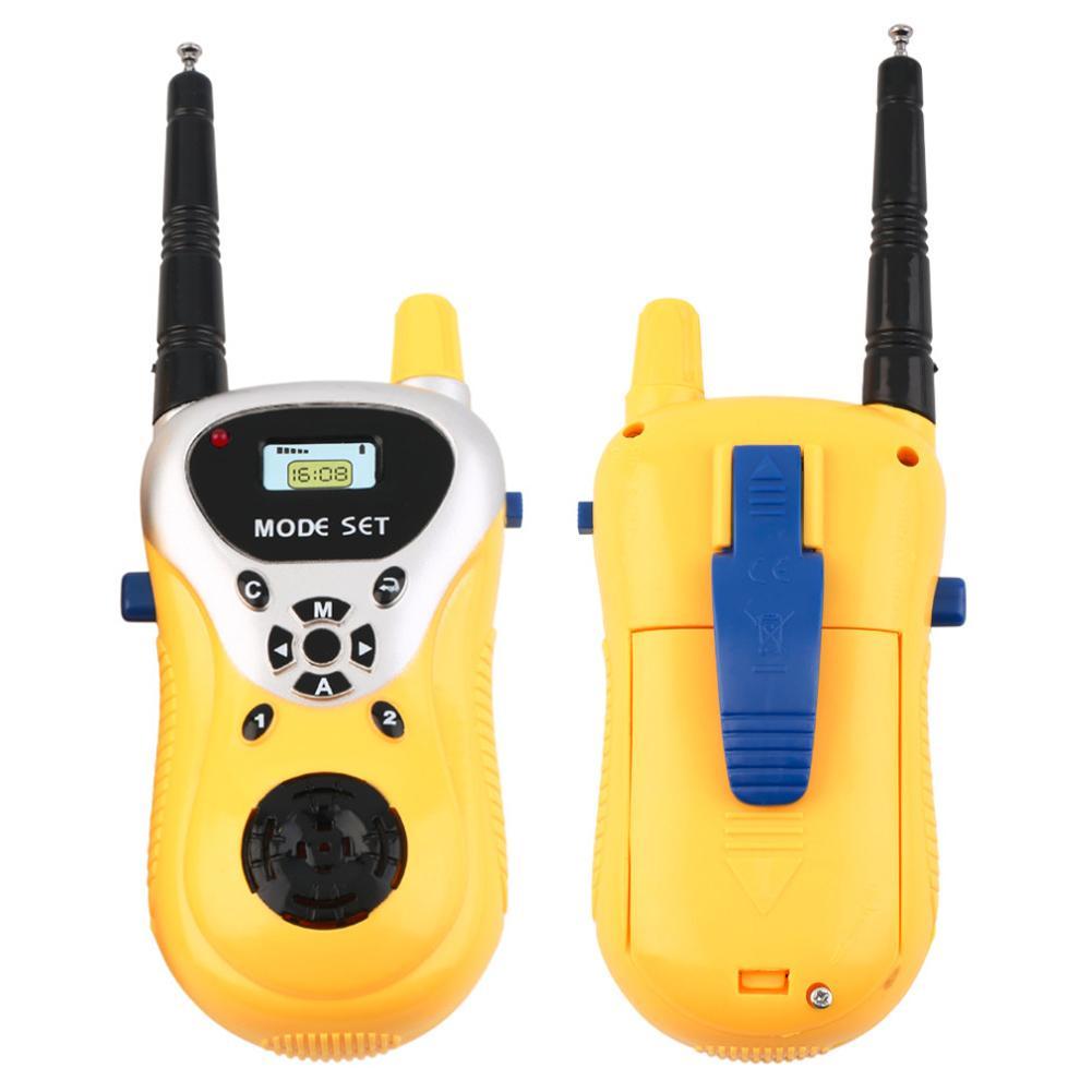 1 Pair Yellow Intercom Electronic Walkie Talkie Toy Kid Child Mini Handheld Phone Toy Portable Two-Way Radio Interphone Wireless