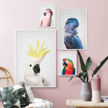 ColorfulBoy Feather Parrot Wall Art Canvas Painting Animal Nordic Posters And Prints Salon Pictures For Living Room Bar