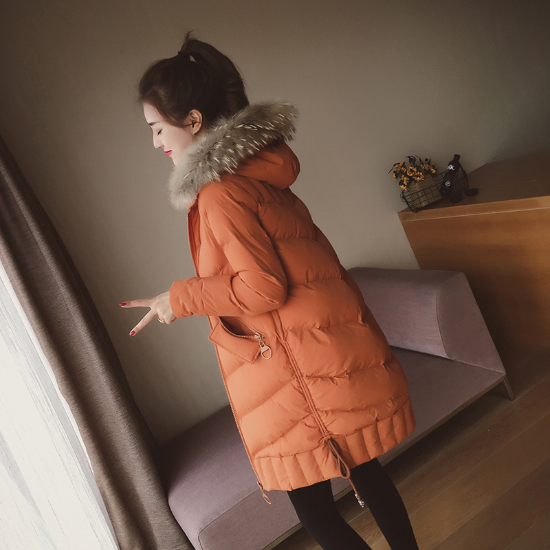 Small grains in the winter of 2017 new large fur hoodie coat jacket girls long bread padded thick jacket 2017 korean version of the thickening of female workers in the long coat lambskin coat winter coat large size coat