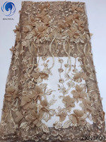 BEAUTIFICAL 3d lace fabric 2018 high quality tulle lace fabrics with beads african fabric laces for party dress 5yards ZXN36