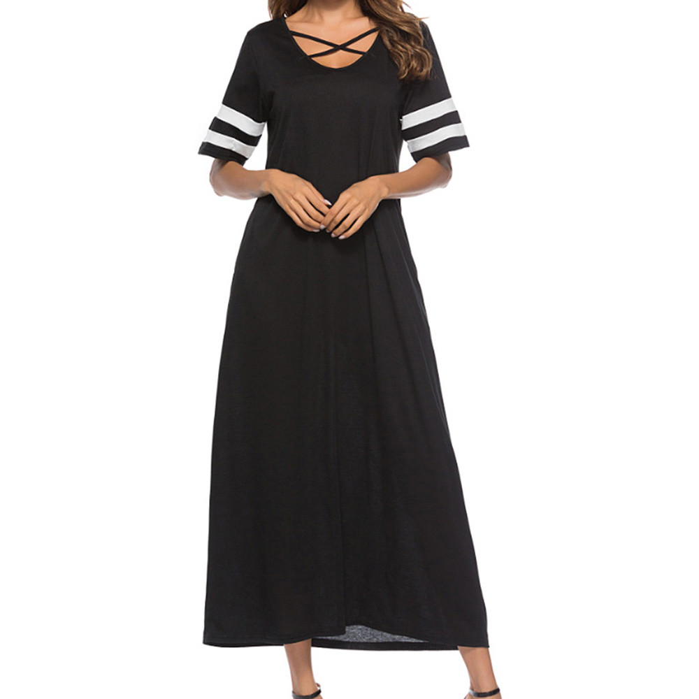 Feitong Womens Striped Dresses Short Sleeve Bandage Cross Neck Casual Long Dress Pockets Women Sundress Vestidos Elegant Dess