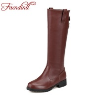 FACNDINLL Cheap Fashion Leather Boots Autumn Winter Shoes Woman Warm Snow Knee High Boots Square Heel