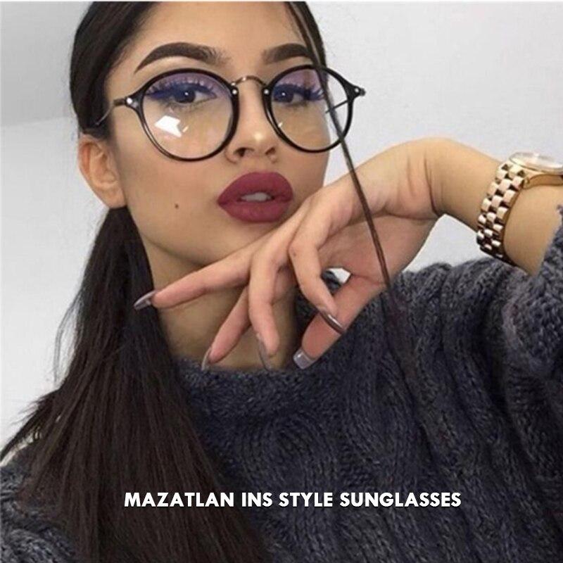 Mazatlan Design 2019 Retro Vintage Glasses Women Clear Lens Oval Frame Eyewear Women Blue Light Computer Glasses