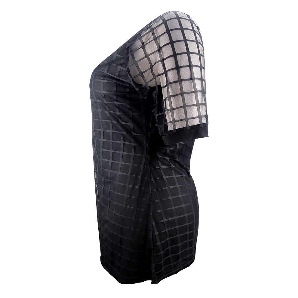 YTL женское платье большого размера, черное Сетчатое мини-платье с коротким рукавом, большие размеры, летние винтажные вечерние платья 4XL 5XL 6XL 7XL H084