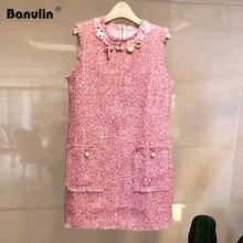 Banulin Runway Designer Tweed Wool Sleeveless Tank Dress Women Winter Luxurious Beading Pocket Fringe Tassel Mini
