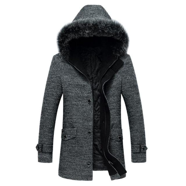 e3d36a339 Hooded Mid Long Fur Collar Trench Coat Men Casual Winter Coat Jacket ...