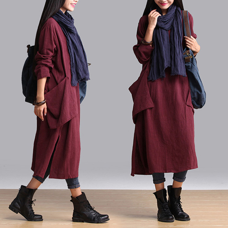 a69d632782 SERENELY Vestidos 2017 Spring Autumn Dresses V neck Plus Size Big Pocket Long  sleeve Linen Dress Loose Casual Cotton Dress S234-in Dresses from Women s  ...