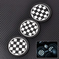 3 pcs Xadrez Patten Anti-Slip Esteira Do Copo para Mini JCW R57 R55 R56 R58 R59 union jack copo esteira do copo do carro mat