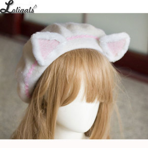 Image 5 - Piękne damskie ucho kota berety śliczne styl mori girl wełniane berety dla zima różowy biały
