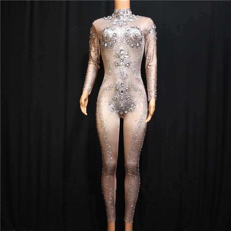 Сверкающие Стекло Стразы эластичный купальник Зентаи Для женщин пикантные сценический костюм яркими кристаллами Облегающий комбинезон танцевальный сценический одежда