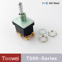 10pcs 3-way 6 pin toggle switch 250VAC dpdt on off on toggle switch IP67 waterproof toggle switch with SCREW terminals T502CW