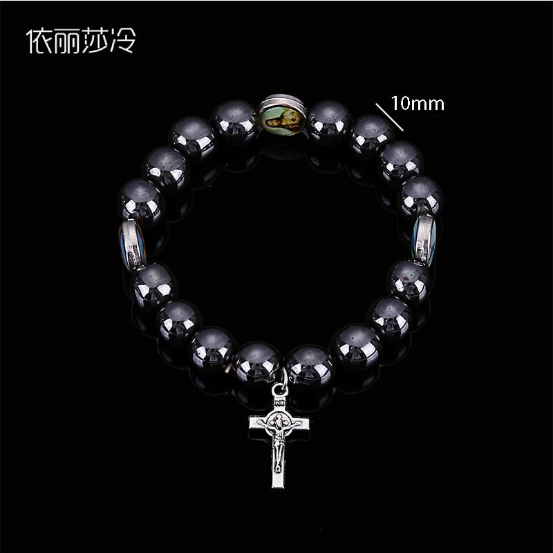30 Pieces / Catholic Saint Elastic Magnetite Cross Bracelet, Random Catholic Image Bracelet Nourishing The Kidneys Relieving Rheumatism