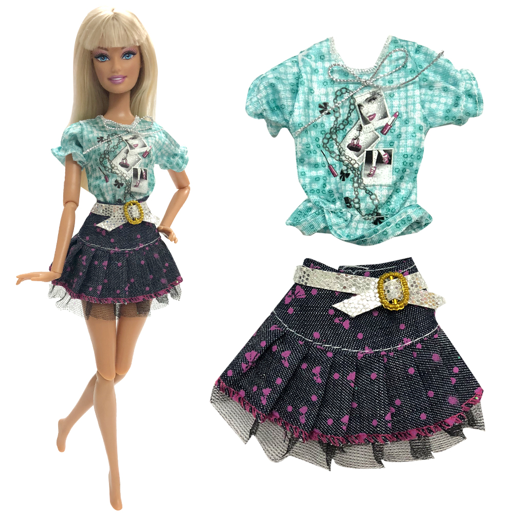 NK One Set Outfit Handmade Fashion Short Dress For Barbie Doll Accessories Baby Girl Birthday  Best Present For Kids 117A DZ