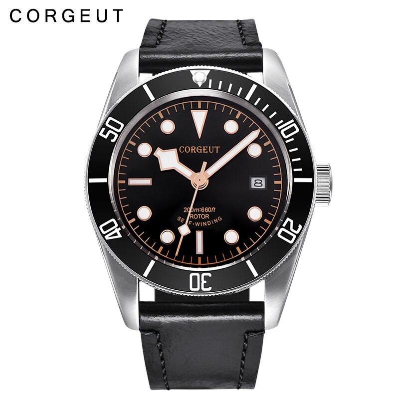 лучшая цена 41mm Corgeut Men's GMT Automatic Mechanical Watch Fashion Mechanical Watch Waterproof Calendar Watch