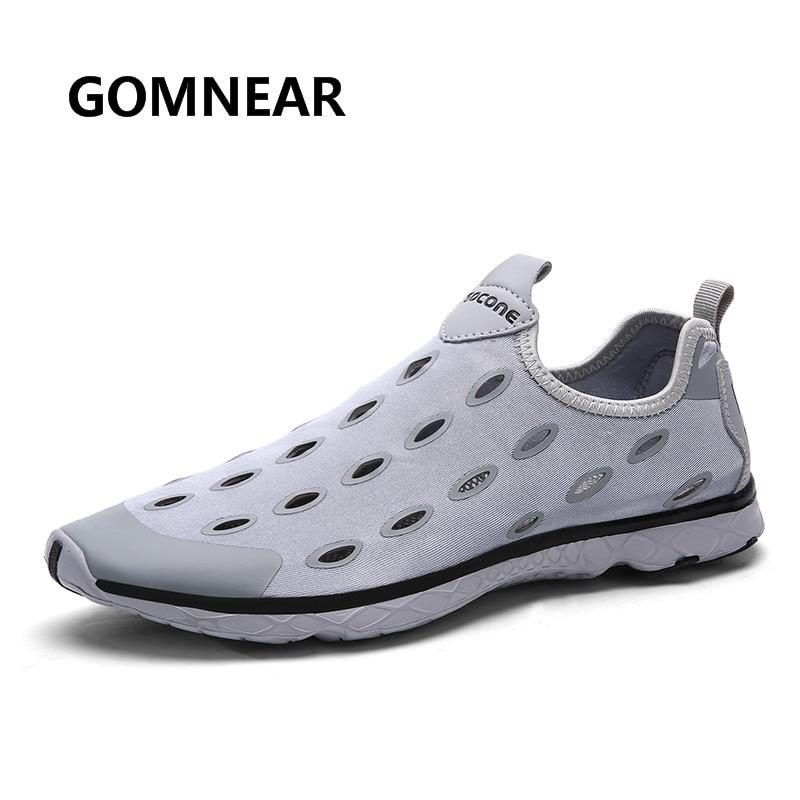 GOMNEAR Sommer menn Vann Sko Pustende Antiskid Slip på Sneakers Beach Sko Walking Komfortabel Aqua Sko Zapatos Hombre