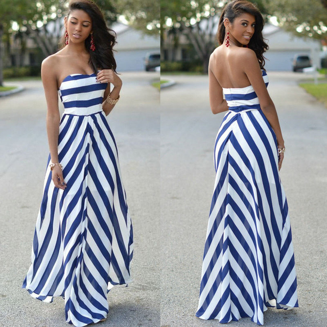 89e71bba85dc Fashion Women Sexy Summer long Maxi Dress sleeveless strapless backless  striped casual Beach holiday Sundress
