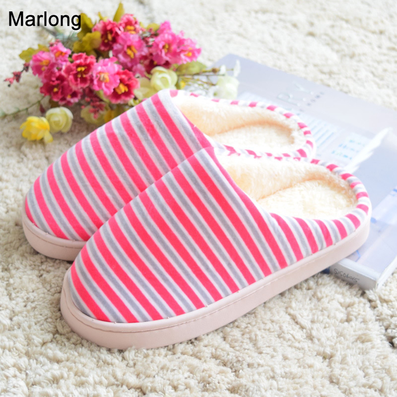 Marlong House Striped Soft Bottom Home Slippers Cotton Warm Shoes Women Indoor Floor Slippers Non-slips Shoes For Bedroom women floral home slippers cartoon flower home shoes non slip soft hemp slippers indoor bedroom loves couple floor shoes