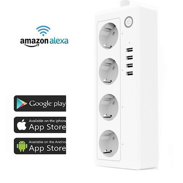 Wifi inteligente Plug Power Strip Surge Protector de múltiples tomas de corriente 4 Puerto USB Control de voz para Amazon Echo de Alexa google