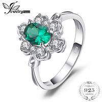 JewelryPalace Elegant 0 7ct Oval Stimulated Green Emeralds Solitaire Anniversary Promise Rings Solid 925 Sterling Silver